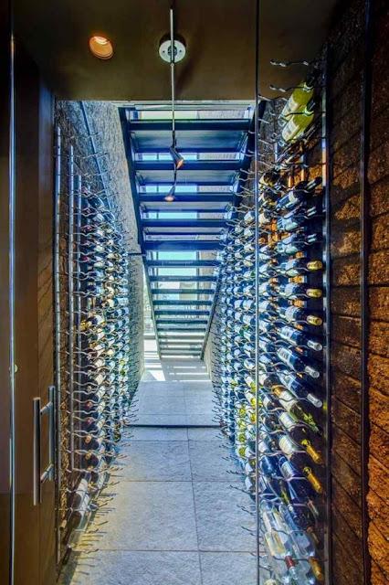 Wine Store Under Stairs Shelf Metal Lighting Idea