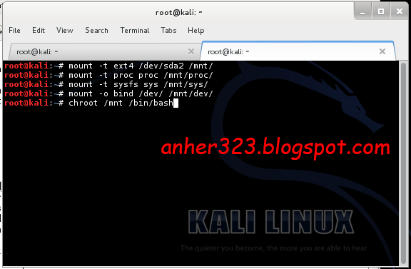 install grub Kali Linux on HDD