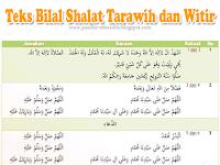 Bacaan Bilal ketika Tarawih dan Witir beserta Jawaban Jamaah