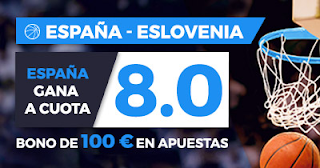 Paston Megacuota 8 Eurobasket: España vs Eslovenia +100 euros 14 septiembre