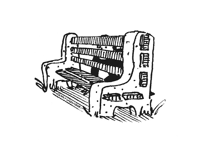 park bench drawing, park bench cartoon, G Lagendyk