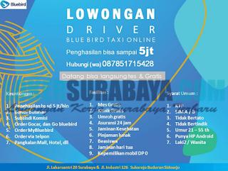 Lowongan Kerja Driver di Blue Bird Taxi Online Sidoarjo April 2019