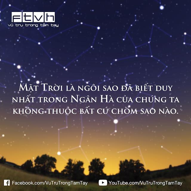 [Ftvh] Mặt Trời là ngôi sao đã biết duy nhất trong Ngân Hà của chúng ta không thuộc bất cứ chòm sao nào.