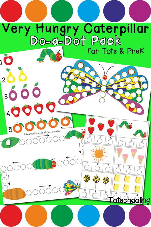 FREE printable Very Hungry Caterpillar Do-a-Dot marker learning pack to practice counting, number recognition, patterns, beginning letter sounds and more! Perfect preschool activity for Spring or for an Eric Carle theme.