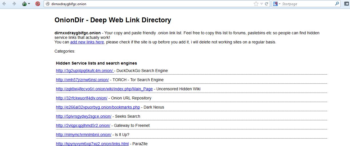Deep Web: OnionDir