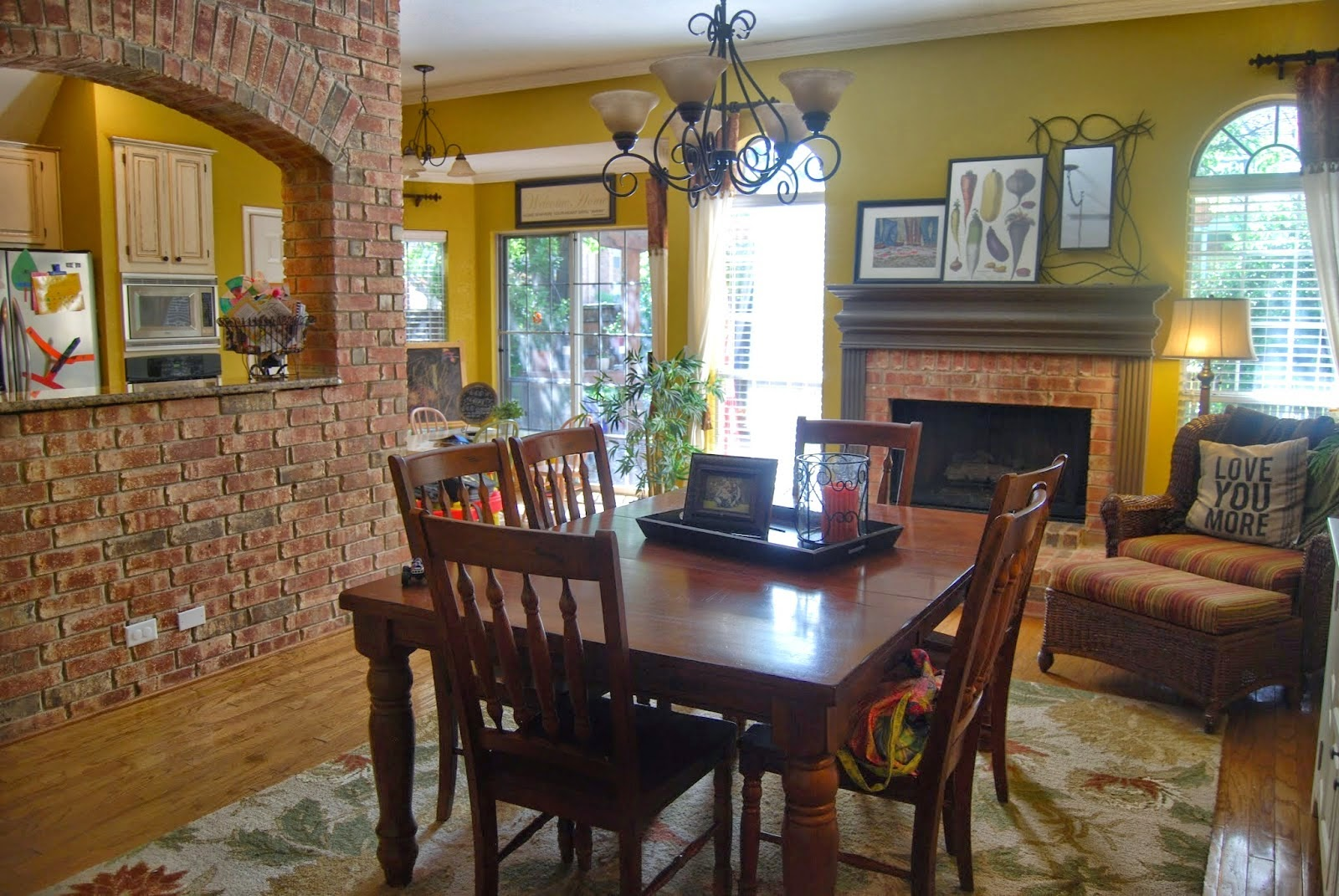 The Two Formal Areas In Front Of Our House Into One Big Family Room We Were Able To Switch Out Light Fixture And Make This A Dining Area