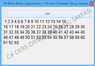 C# Mod Alma Uygulaması | C# Ders Örnekleri Blog Sayfası
