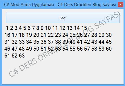 C# Mod Alma Uygulaması Örneği