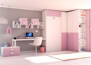 escritorio en habitacion femenina