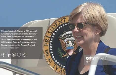 Elizabeth Warren stepping off Air Force One