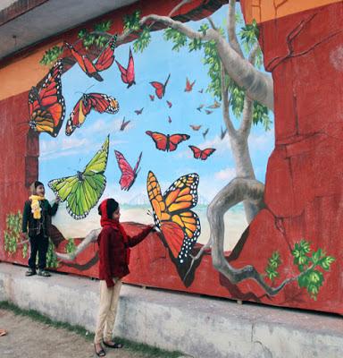 Mural lukis dinding 3d tema kupu-kupu