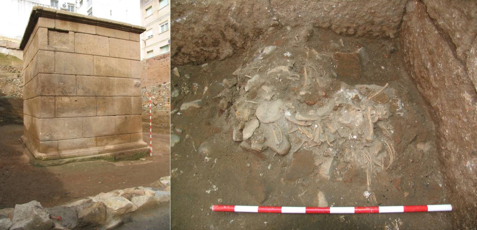 A la izquierda, el mausoleo. A la derecha, los restos del sacrificio animal en su interior. Foto:Javier Heras. Consorcio de la Ciudad Monumental de Mérida.