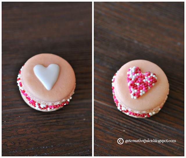 Valentine's Day Love Sprinkle Macarons Recipe - via BirdsParty.com