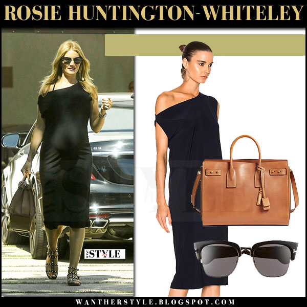 Rosie Huntington-Whiteley in black one shoulder midi dress norma kamali maternity fashion what she wore may 2017