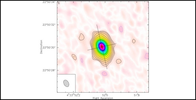 This false-color image from a sub-millimeter interferometic telescope shows the circumstellar disk of gas and dust that surrounds star CI Tau. (Image courtesy of Stephane Guilloteau/University of Bordeaux)