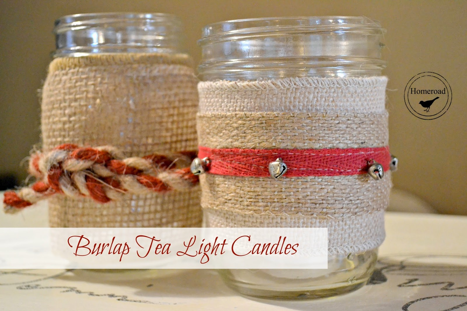 burlap mason jar tea light project www.homeroad.net