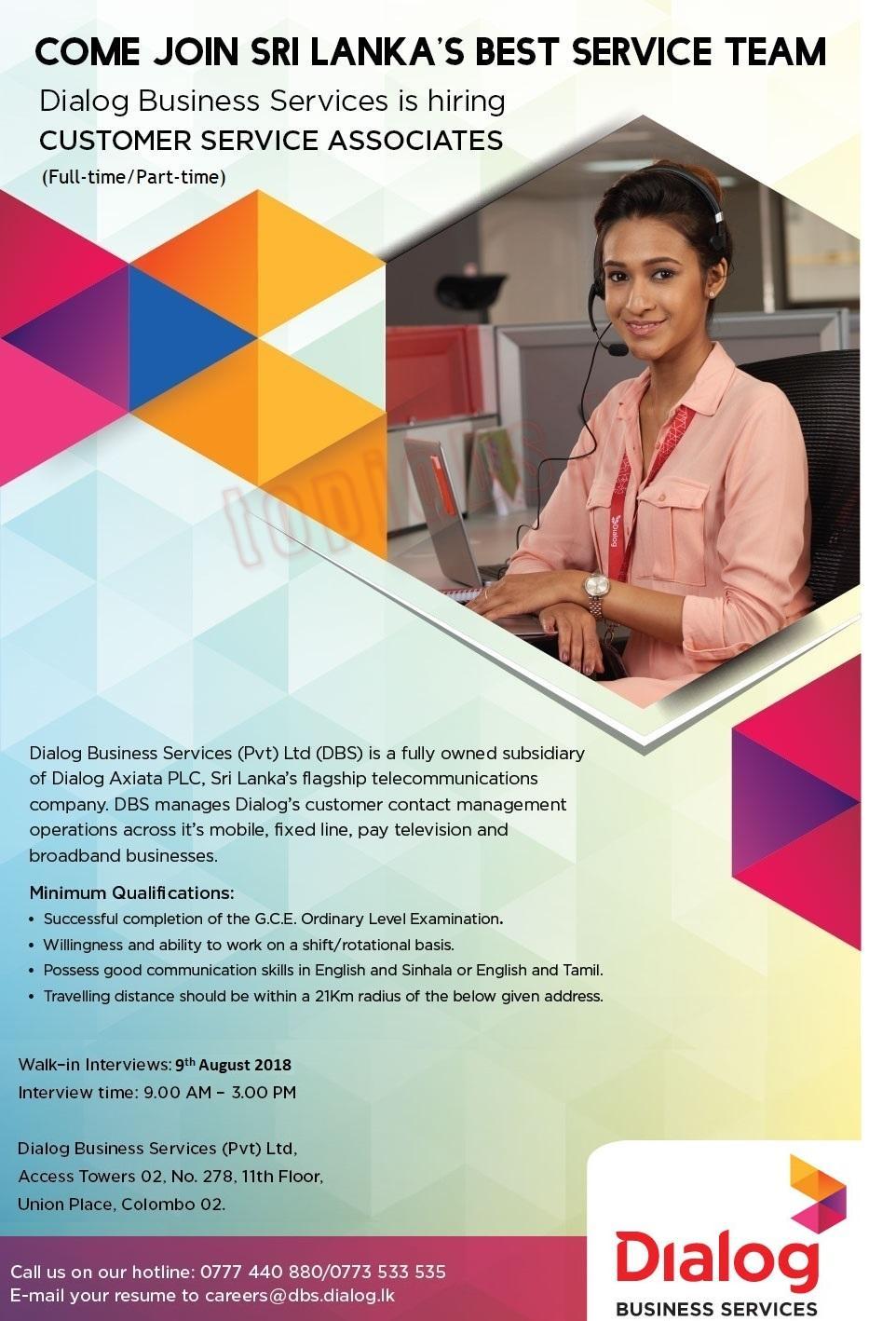Vacancies in Dialog Axiata PLC - Customer Service Associate