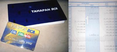 contoh print koran riwayat transaksi atau mutasi rekening bca di buku tabungan