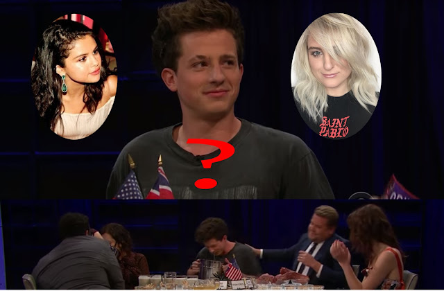 Charlie Puth choose between Selena Gomez and Meghan Trainor in Spill your Guts with James Corden