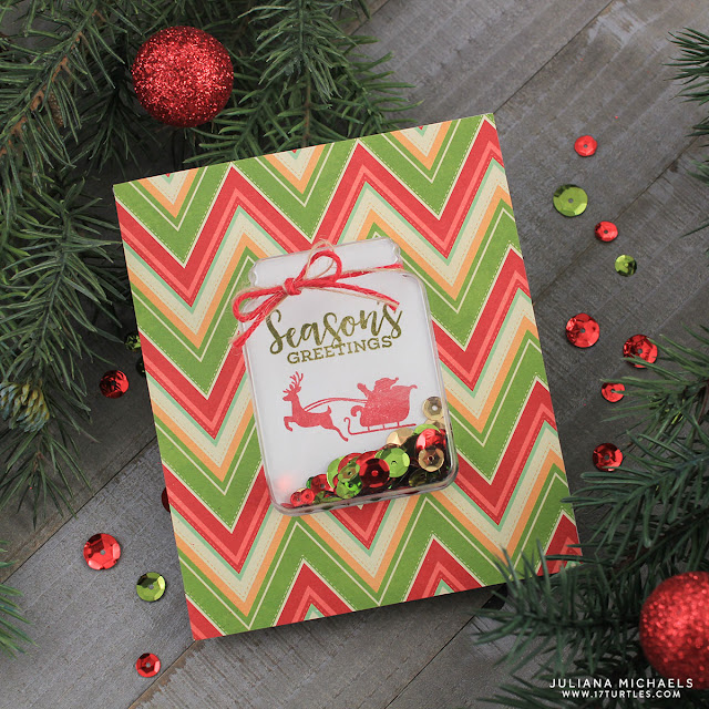 Season's Greetings Christmas Shaker Card by Juliana Michaels featuring Jillibean Soup Holiday Shape Shakers