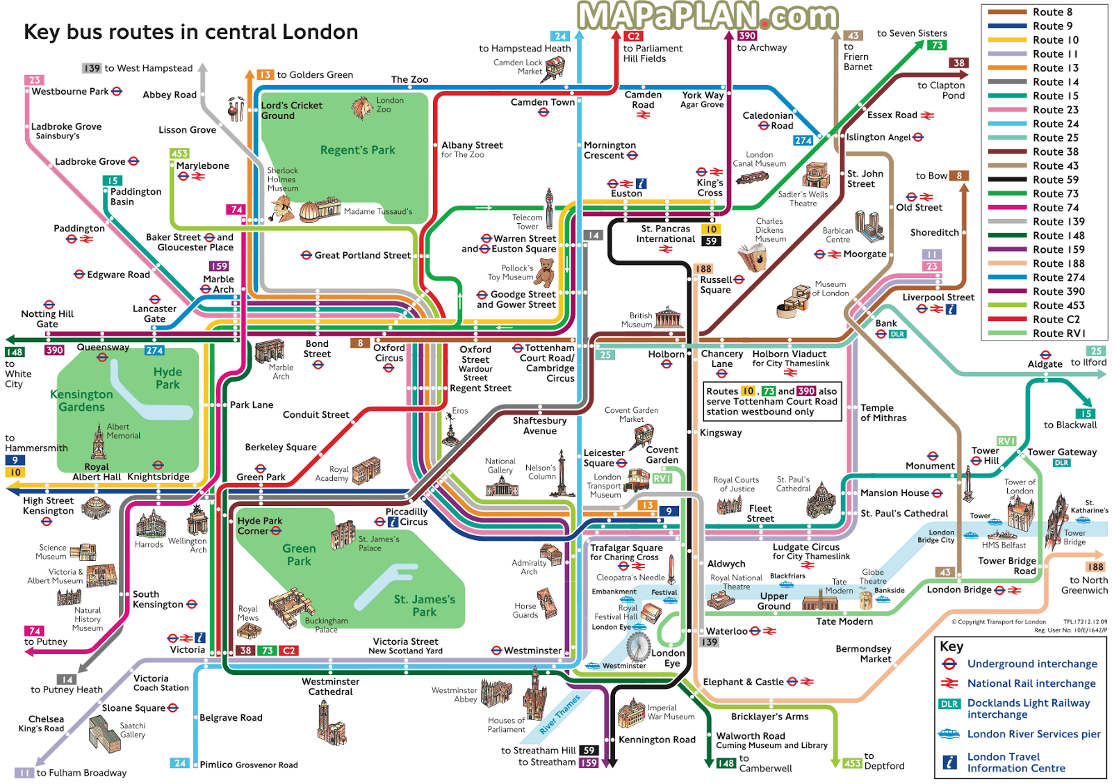 London Map Tourist.Key Bus Routes In Central London With Top Tourist Attractions