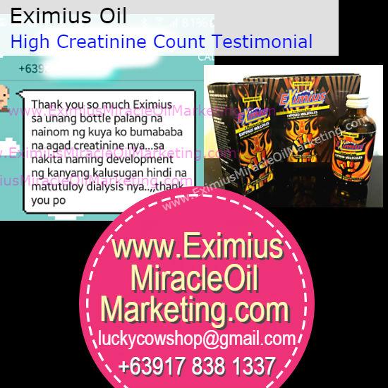 eximius oil kidney creatinine testimonial