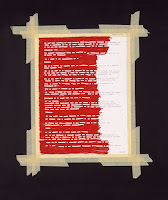 Indian Act (2002) artwork by Nadia Myre. Image from Walrus article. Artwork is a page from the Indian Act, taped onto a background, with white beadwork on red covering the left portion of the page.