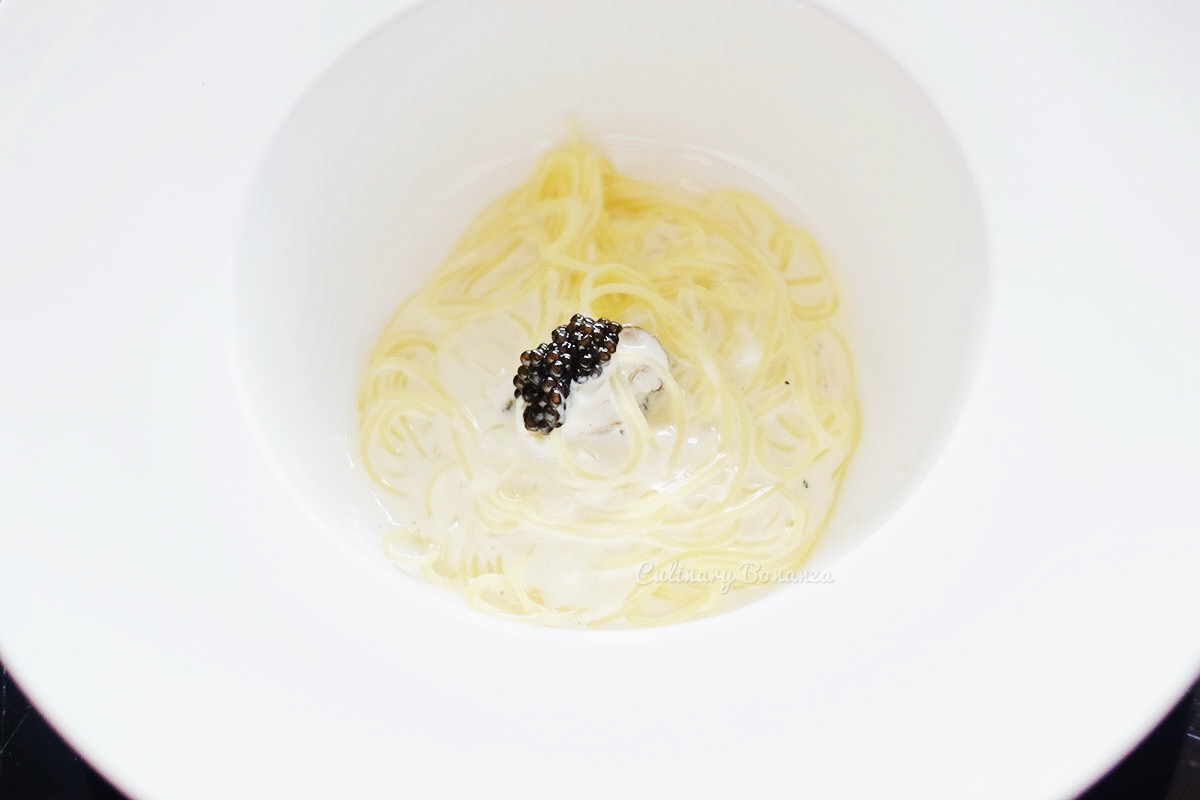 Champagne & Oyster Angel Hair with Sturia Caviar (www.culinarybonanza.com)