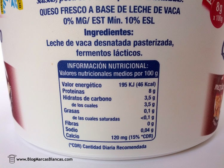 Valor nutricional queso fresco