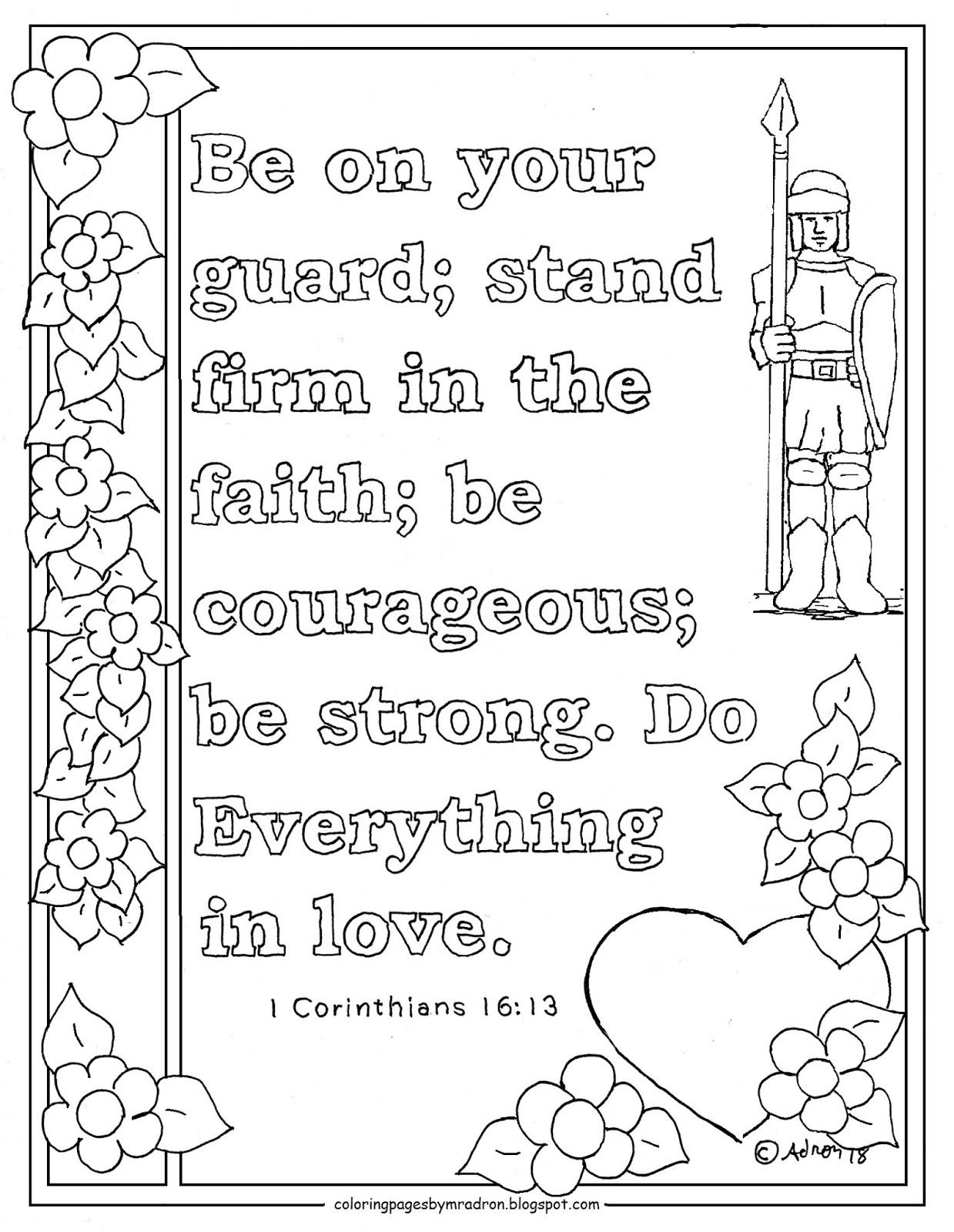 Coloring Pages For Kids By Mr Adron 1 Corinthians 16 13 Print And Color Page Be On Your Gaurd