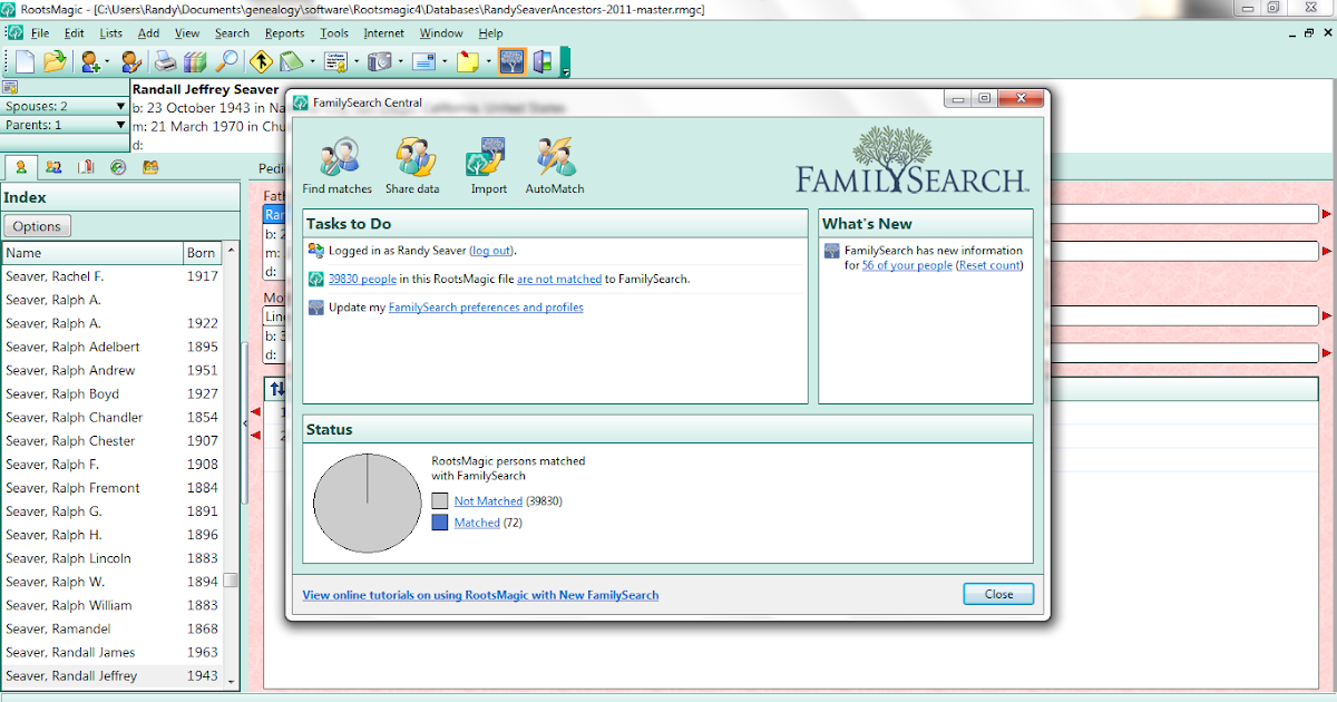 Genea-Musings: The New FamilySearch Family Tree - Post 7: Searching using RootsMagic 4