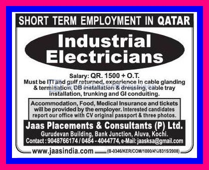Industrial Electrician Vacancies For Qatar Gulf Jobs For
