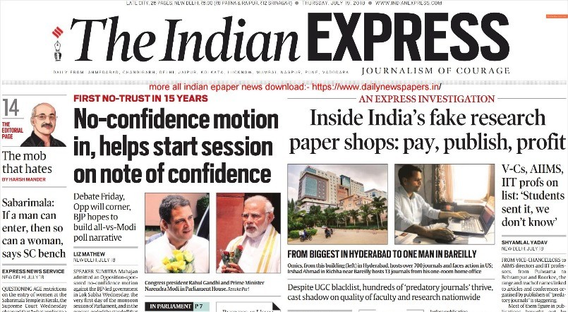 The indian express epaper news 19 july 2018, the indian express.