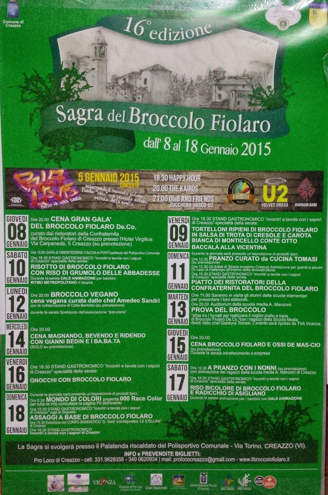 A poster advertises the festival of the broccolo fiolaro in Creazzo
