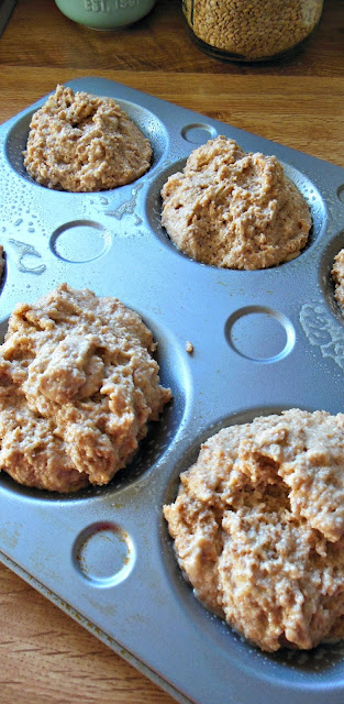 Banana Crumb Muffin Tips, ready for the oven.