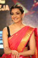 Kajal Aggarwal in Red Saree Sleeveless Black Blouse Choli at Santosham awards 2017 curtain raiser press meet 02.08.2017 051.JPG