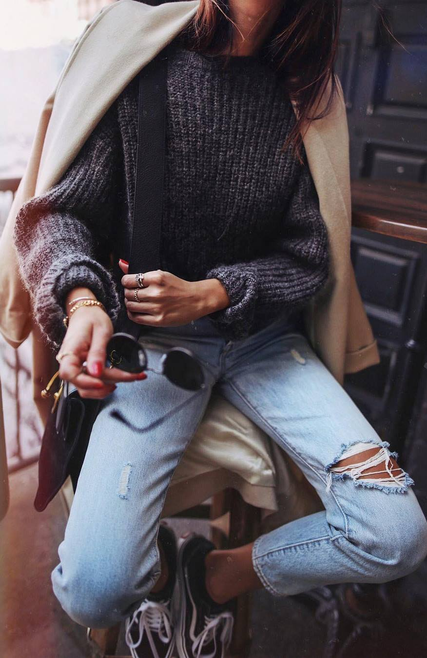 trendy outfit_coat + knit sweater + rips + sneakers