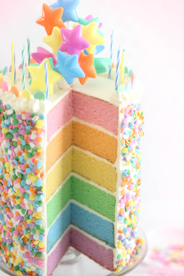 As For The Cake Its Unapologetically Tall And Profusely Sprinkled On Outside Slice It Youll Find A Rainbow Of Pastel Color Inside