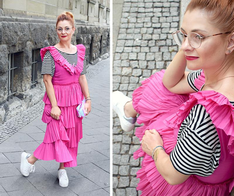 Sommerkleid in Fuchsia, Sommerkleid in Pink, Volantkleid