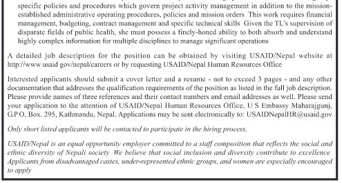Project Management Specialist - Usaid/Nepal (June 23, 2017