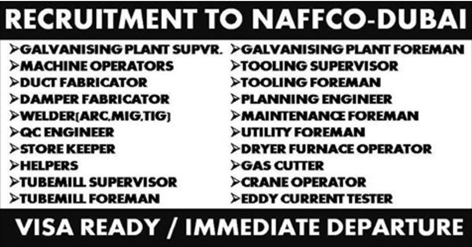 RECRUITMENT TO NAFFCO - DUBAI 2017 | APPLY NOW | All Gulf