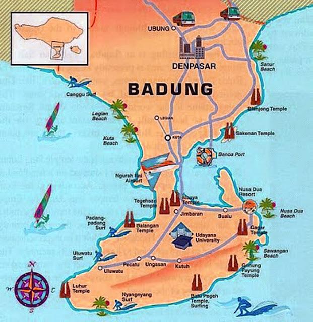 Gambar Peta wisata Kabupaten Badung