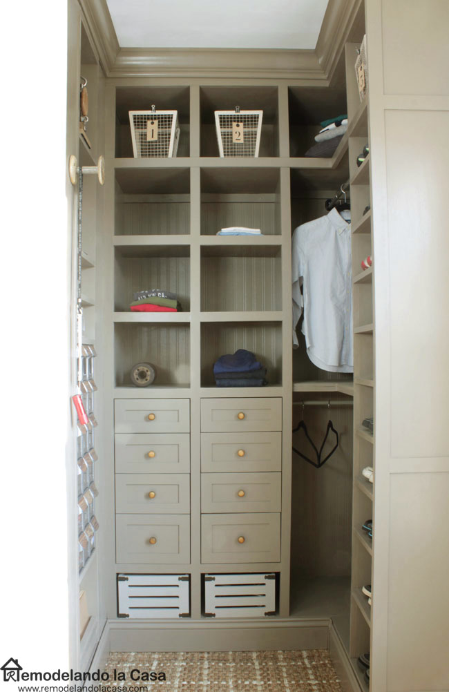boy room closet, shelves, drawers, flip-out storage bins, shoe shelf,