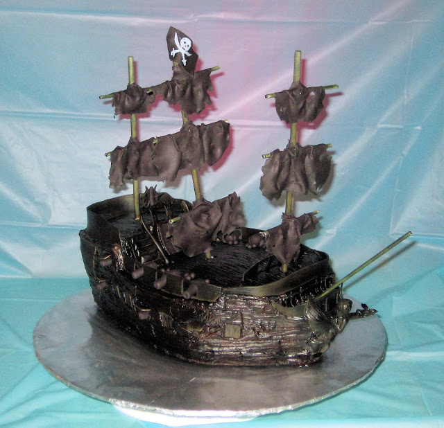Pirate Ship Cake of The Black Pearl from Pirates of the Caribbean - Front Angle View 1