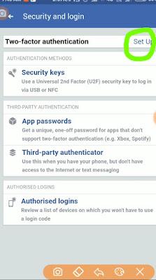 facebook two setp verification