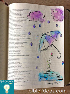 Bible journaling printable for Isaiah with umbrella