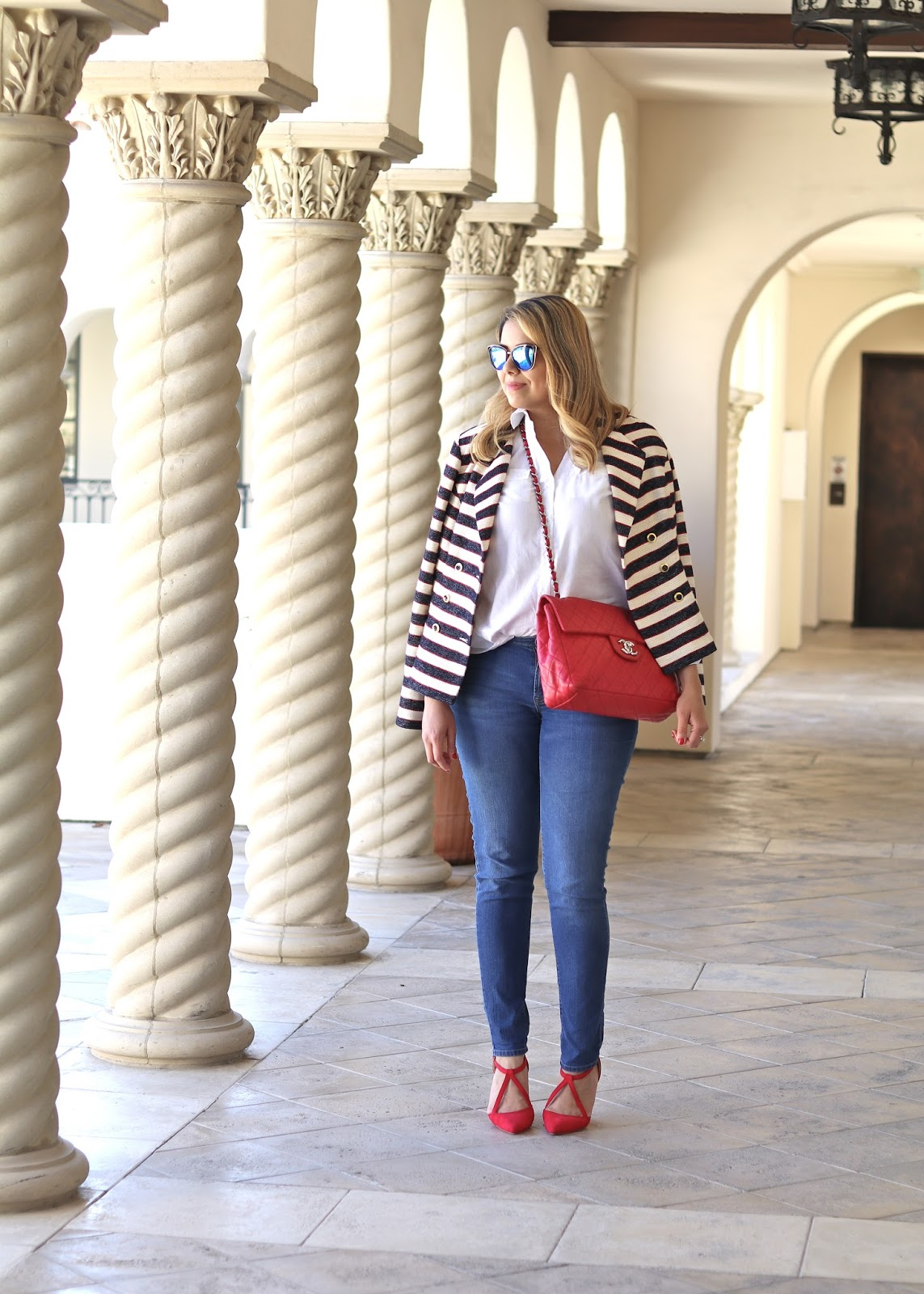 San Diego fashion blogger, Red Chanel handbag outfit, nautical striped blazer, cabi fashion blogger, cabi 2016 spring collection