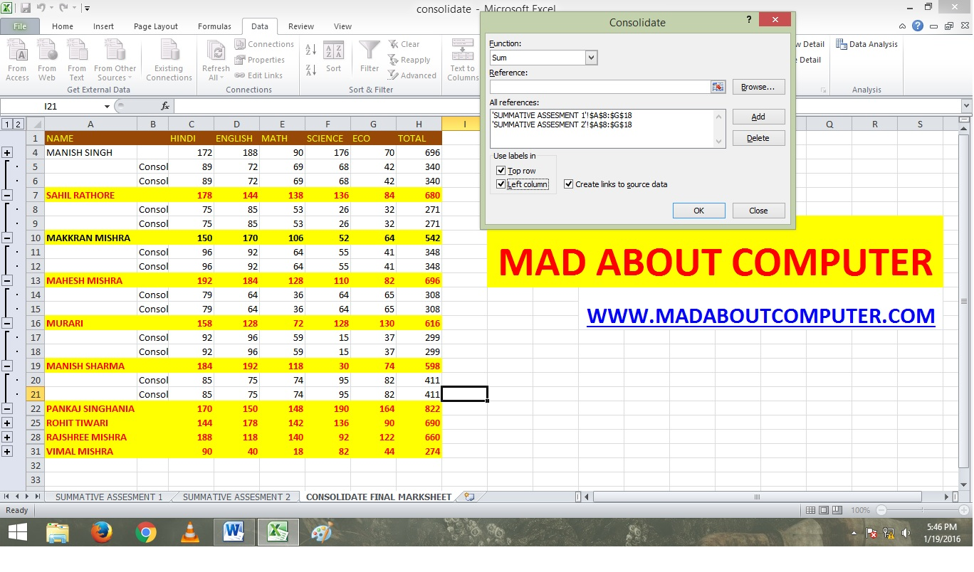 Basic Consolidate In Excel By Using Position Mad About