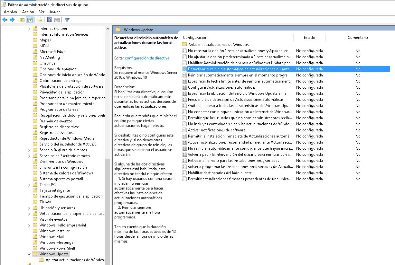 GPO: Desactivar el reinicio automático de actualizaciones durante ...