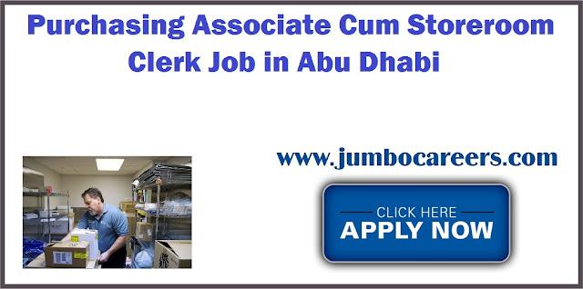 Purchasing Associate Cum Storeroom Clerk Job in Abu Dhabi